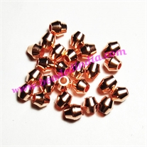 Solid brass metal copper plated beads, size: 5x5mm, weight 0.433 grams