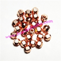 Solid brass metal copper plated beads, size: 5x5mm, weight 0.592 grams