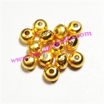 Solid brass metal gold plated beads, size: 5.5x7mm, weight 1.084 grams