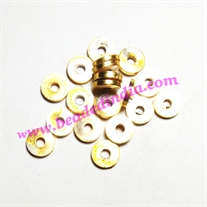 Solid brass metal gold plated beads, size: 1.5x7mm, weight 0.451 grams
