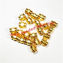 Solid brass metal gold plated beads, size: 6x8 mm, weight 1.22 grams