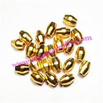 Solid brass metal gold plated beads, size: 5.5x8mm, weight 0.91 grams