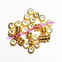 Solid brass metal gold plated beads, size: 3x6mm, weight 0.447 grams