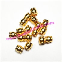 Solid brass metal gold plated beads, size: 6.5x7mm, weight 1.198 grams