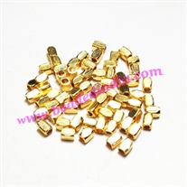 Solid brass metal gold plated beads, size: 3x4mm, weight 0.146 grams