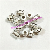 Solid brass metal silver plated beads, size: 6x8 mm, weight 1.22 grams