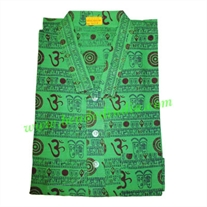 full sleeve long yoga kurta in cotton, size : chest 109 x height 103 x sleeve 57 centimeters.