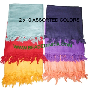 Pack of 20 Assorted Yoga Scarves, Material : staple rayon, size 178x92 CM.